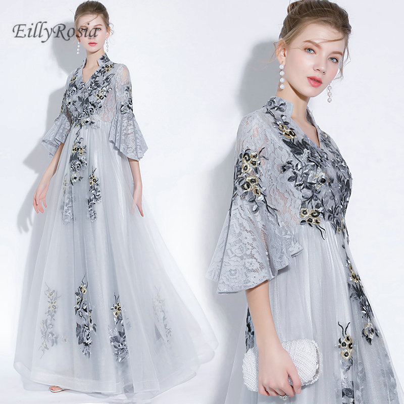 3b8b1ca4bcfa Lace Silver Mother of the Bride Dresses for Wedding Guest Embroidery Tulle  Juliet Trumpet Sleeve Elegant Evening Party Gowns for Women. model show.  6.2 ...
