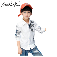 ActhInK New Arrival Chinese Style Boys Shirts Long Sleeve Dress Teen Clothes Kids Summer