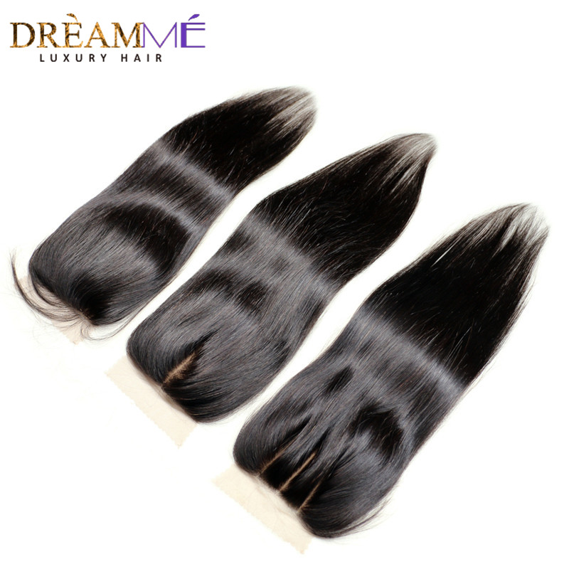 Dreamme Hair Silk Base Closure Brazilian Straight Mänskligt Hår Remy Hair Bleached Knots Closure With Baby Hair Free Part