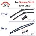 Combo da Borracha de Silicone Brisas Dianteiro E Traseiro Wiper Blades Para Suzuki Swift, 2005-2010.Windshield Limpador Acessórios Do Carro