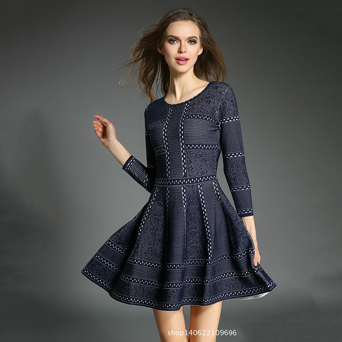 Free Shipping Dress Spring Autumn 2018 Women Hollow Out Knitted Slim Fit A-Line Casual Sweater Dress Dark Blue Red Wine Jumper readit knitting dress 2017 winter woman dress dark blue wine red knitted dress calf length hollow out bottom casual dress d2558
