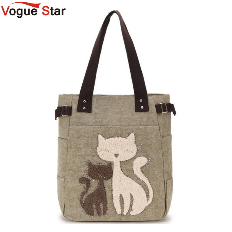 Causal Lady Handbags Female Shoulder Tote Bags Fashion Women Canvas Handbag Cute Cat Appliques Travel Shoulder Bags LB340 luxury crystal pearl clutch party evening bags women pochette soiree purse crystal bead wedding pouch bags green pink blue red