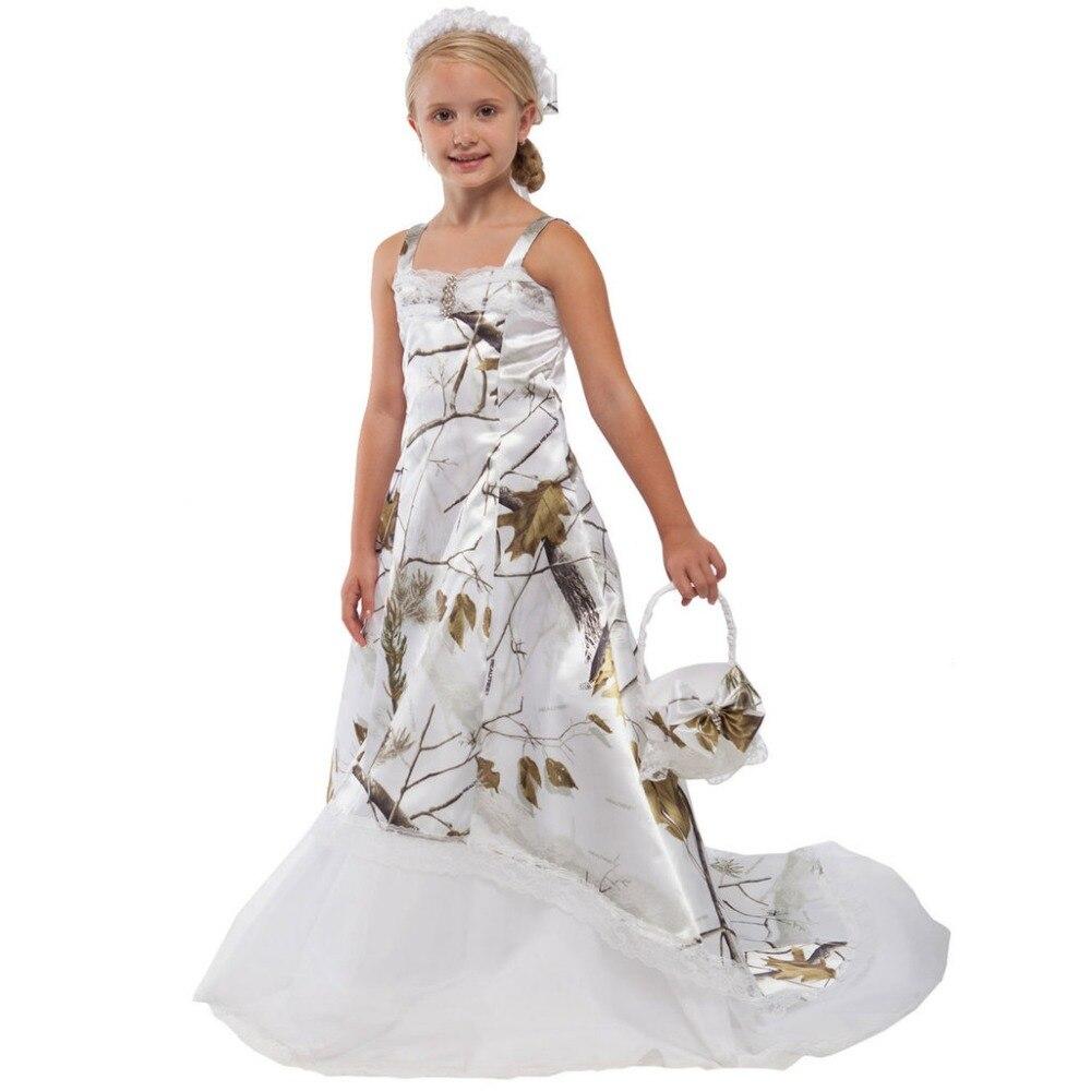 Schnee Weiß Camo Blume Mädchen Kleider 2017 Mädchen Pageant Kleider Lange Camouflage Kind Abendkleid Up-To-Date-Styling