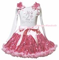 My 2nd 3rd 4th 5th 6th Birthday Dress L/s Shirt Pink Sequins Skirt Girl Clothing 1-8y