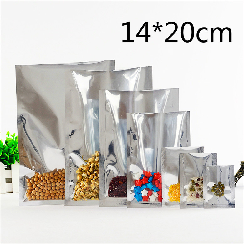 14*20cm Silvery Top Open Plating Aluminum Foil Heat Sealable Food Storage Plastic Bags Clear Coffee Tea Packaging Vacuum Pouch