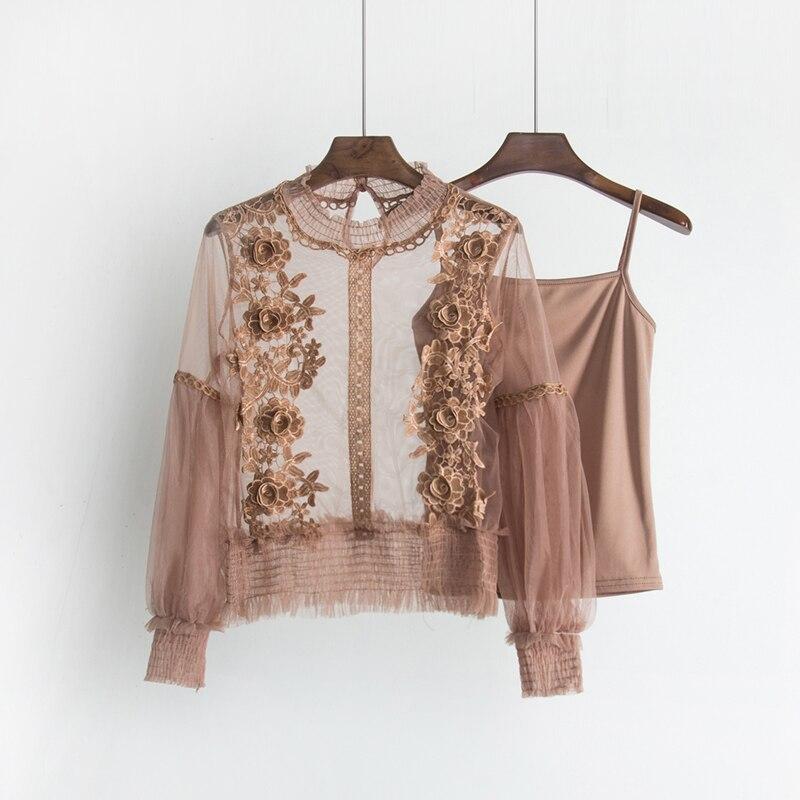 2018 Sweet Long Lantern Sleeve Transparent Hollow Out Mesh Blouses Women Two Pcs Set 3D Flower Mesh Shirts Sweet Flower Mesh Top 4