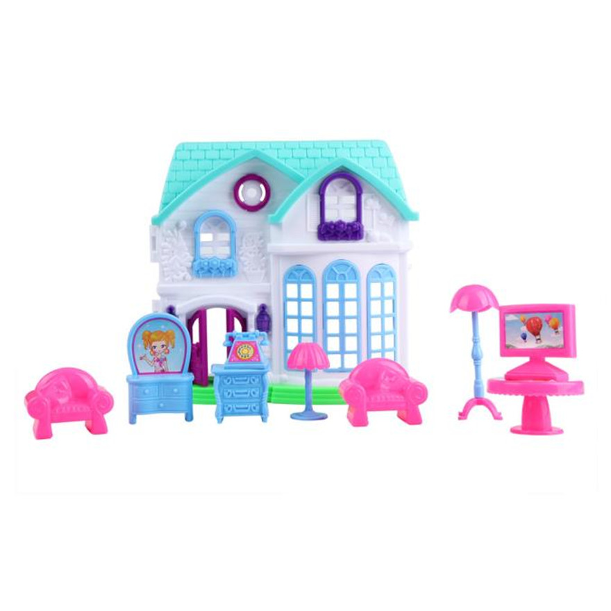High Quality 1Set House Castle Villa Toy Baby Simulation Family Scene Gift For Kids Free Shipping