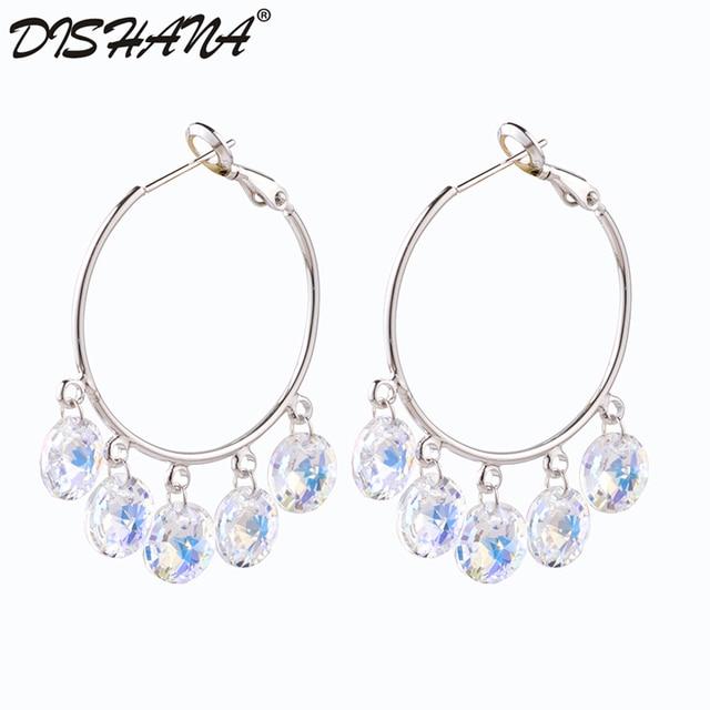 Luxury Women Crystal Pendant Earrings Clip Party Bijoux Gift Fashion Jewelry On Oorbellen