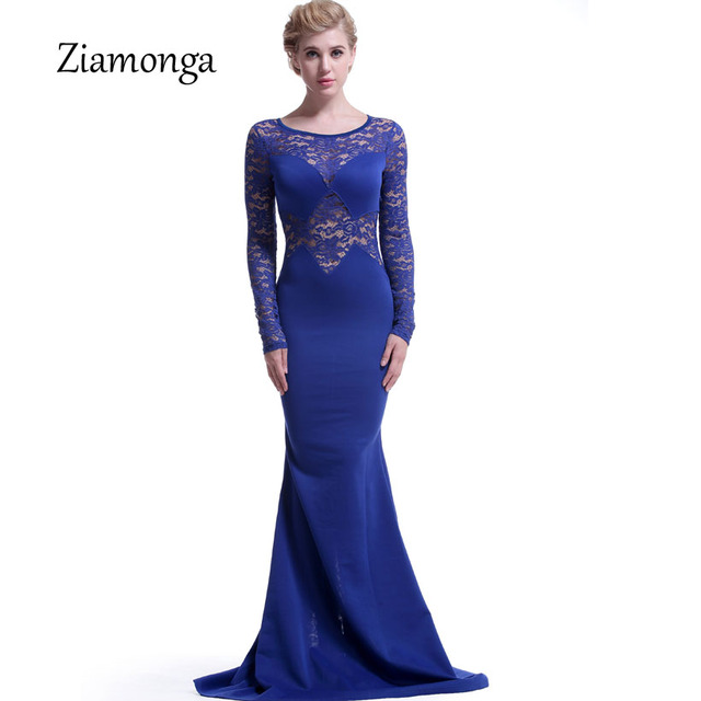 b37198243 Ziamonga أنيقة طويلة الأكمام الأزهار الدانتيل حورية البحر ثوب جديد الشتاء  2018 النساء رسمية فساتين الأسود