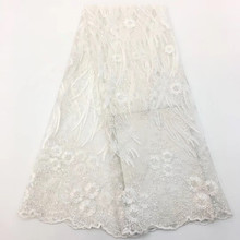 High Quality White African Lace fabric New Design french Tulle lace With Stones Nigerian for wedding dressHX1348-1