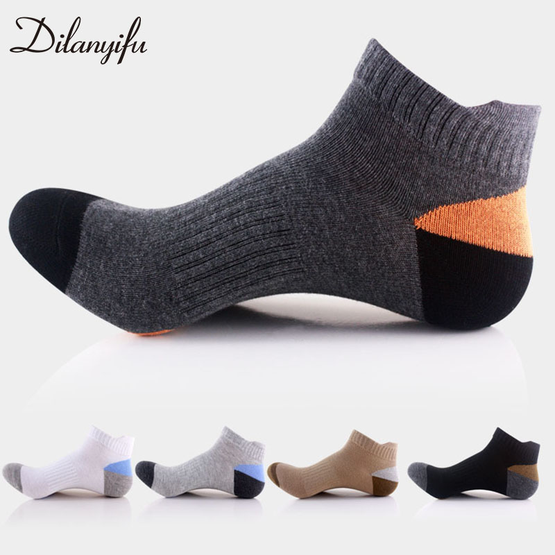10pcs=5pairs/lot Dilanyifu Spring Summer Breathable Cotton Casual Men ankle   socks   high quality Brand boat   socks   male size 40-45