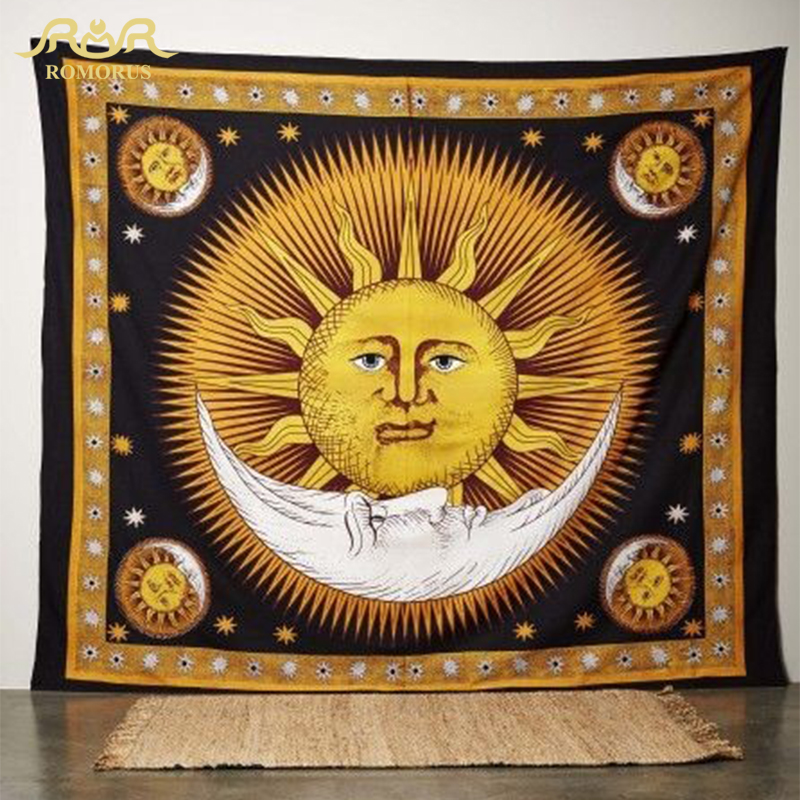 ROMORUS Sun Moon Face Tapestry Creative Bohemian hippie Tapestry - Home Textile - Photo 4