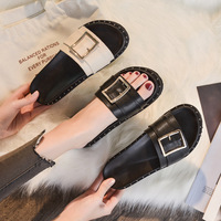 Slippers female summer fashion wear 2019 summer net red sandals women's thick bottom wild flat large size women's shoes 41 43