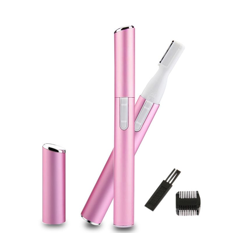 Pink  Electric Eyebrow Trimmer Lipstick Brows Pen Hair Remover Painless Eye Brow Razor Epilator Instant Painless Portable