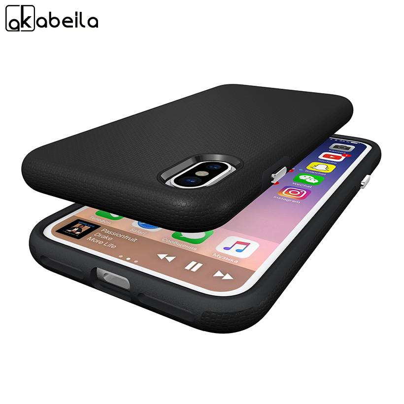 AKABEILA Mobile Phone Covers Cases For Apple iPhone X iPhone 10 iPhone Ten 5.8 inch Frosted Armor Cover Coque Case Housings