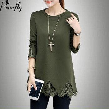 PEONFLY для женщин; большие размеры 5xl Sweters блузка с длинными рукавами рубашка Черный Лоскутная кружево Топы корректирующие трикотажный пулове >> Peonfly Store
