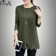 PEONFLY Women Plus Size 5xl Sweters  Long Sleeve Blouse Shirt Black Patchwork Lace Tops Knitted Pullover Mujer Spring Autumn