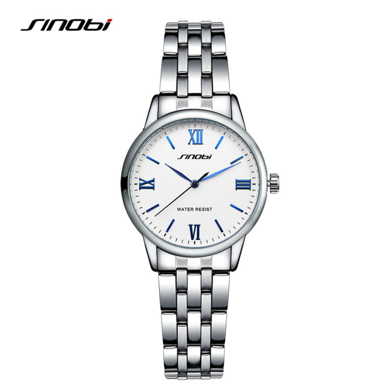 SINOBI New Stainless Steel Brand Quartz Watch Luxury Rhinestone Watches With Roman numerals Women Casual Wristwatch Clock Hours new arrival 2015 brand quartz men casual watches v6 wristwatch stainless steel clock fashion hours affordable gift