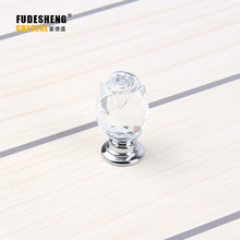 25mm 10pcs Crystal Glass Rose Knobs Flowers Furniture Kitchen Handles Knob Chest Closet Drawer Door Handles Pulls SJ-N005