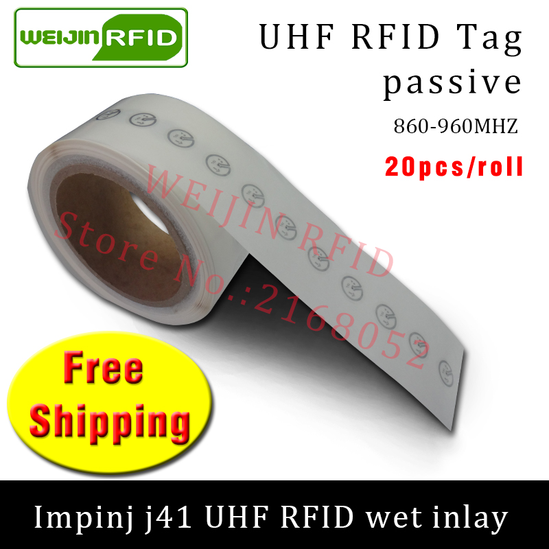 UHF RFID tag sticker Impinj J41 wet inlay 915m868 860-960mhz  EPC 6C 20pcs free shipping self-adhesive passive RFID label uhf rfid tag epc 6c sticker impinj j41 wet inlay 915mhz868mhz860 960mhz higgs3 100pcs free shipping adhesive passive rfid label
