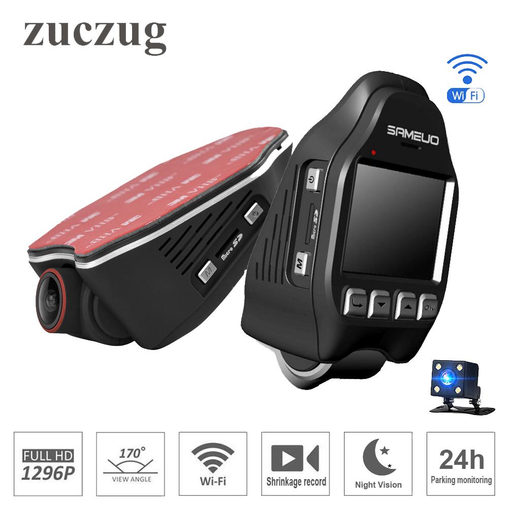 ZUCZUG 2.0 pouces voiture cachée DVR wifi 1296 P Vision nocturne universel Dash Cam enregistreur sans fil double caméras enregistrement de Compression