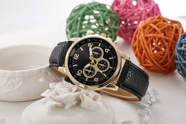 FR@ 2018 NEW NEW Casual Faux Leather Quartz Analog Wrist Watch Watches relojes m