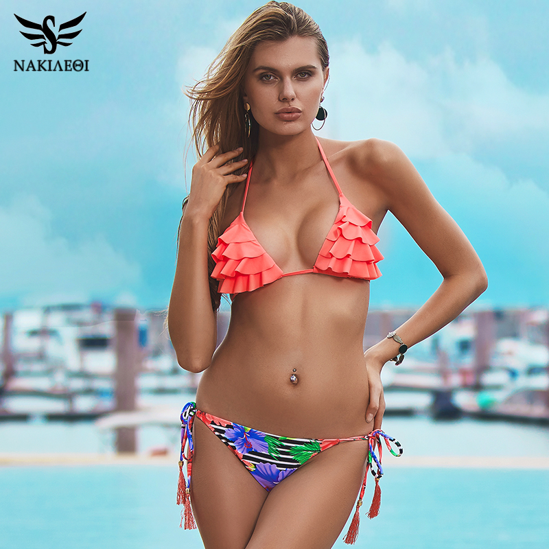 NAKIAEOI 2018 Sexy Brazilian Bikinis Women Swimsuit Girls Swimwear Halter Top Bottoms Micro Bikini Set Bathing Suits Swim Wear