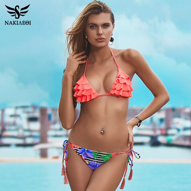 f08c516102f NAKIAEOI 2019 Sexy Brazilian Bikinis Women Swimsuit Girls Swimwear Halter  Top Bottoms Micro Bikini Set Bathing Suits Swim Wear