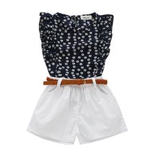 Summer Girl Clothing Sets Children Flowers T-shirt+ Pants Baby Girls Kids Suit For 3-7 Years