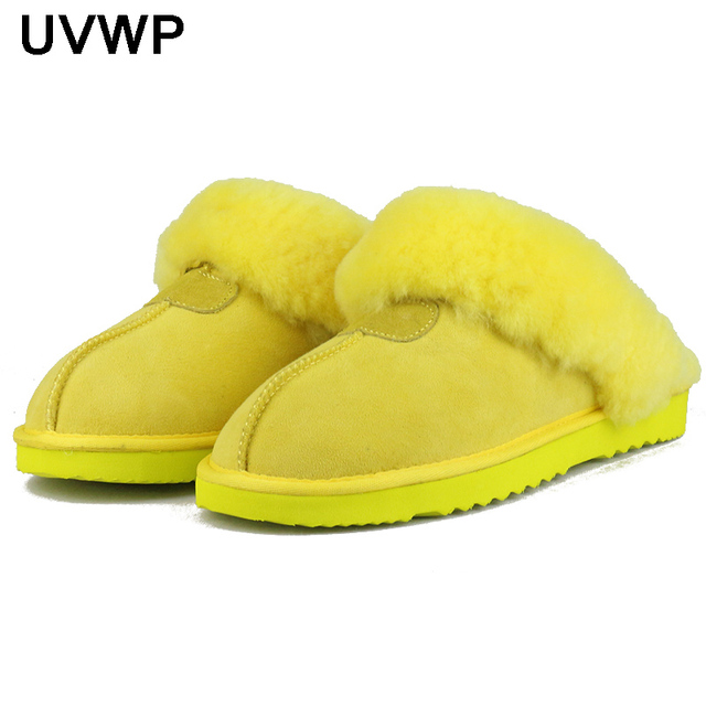UVWP sheepskin leather fur lined women home shoes winter suede slippers for women indoor shoes half slippers free shipping