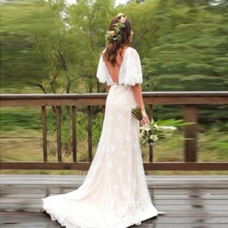 Lorie Boho Wedding Dress Plus Size V Neck Cap Sleeves Lace Bride