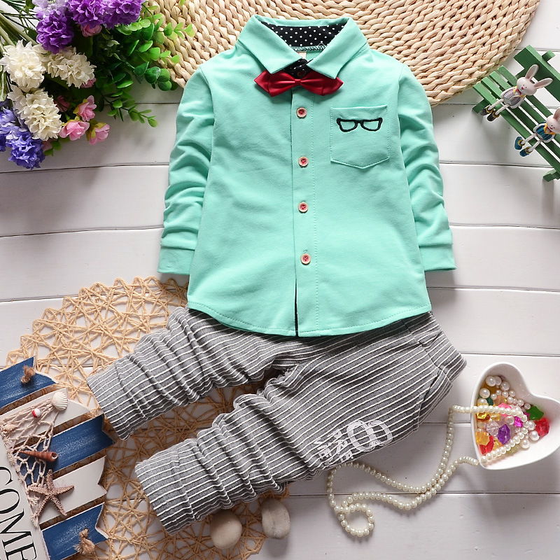 baby boy clothes 2017 spring autumn glasses long sleeve shirts + striped pants 2pcs childrens outfits kids bebes jogging suits