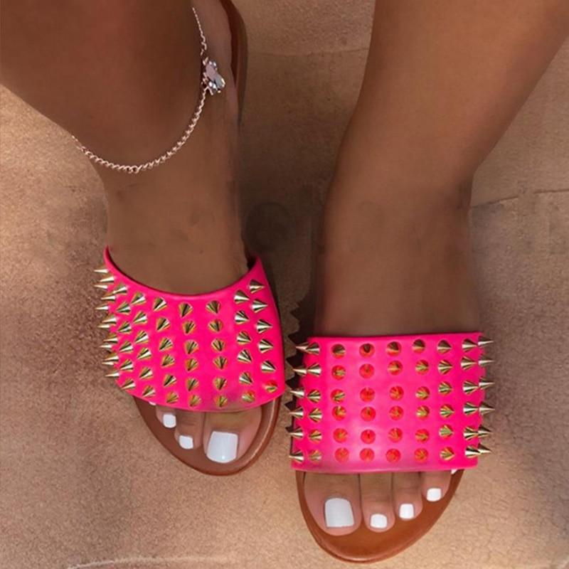 Women Rivet Slippers Flat Casual Ladies Slides Open Toe Outside Metal Decoration Soft Beach Shoes Summer Female Footwear 2020 5