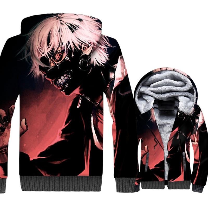 Men's Hoodies Streetwear Hooded Hoody 2018 Autumn Thick Winter Zipped Jackets Male Anime Tokyo Ghoul 3D Sweatshirts Men Hoddies