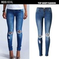 Bleach ROSICIL Hot Moda Damska Bawełna Denim Spodnie Stretch Kobiet Kolana Skinny Jeans Hole Zgrywanie Denim Jeans Dla Kobiet SL018 #