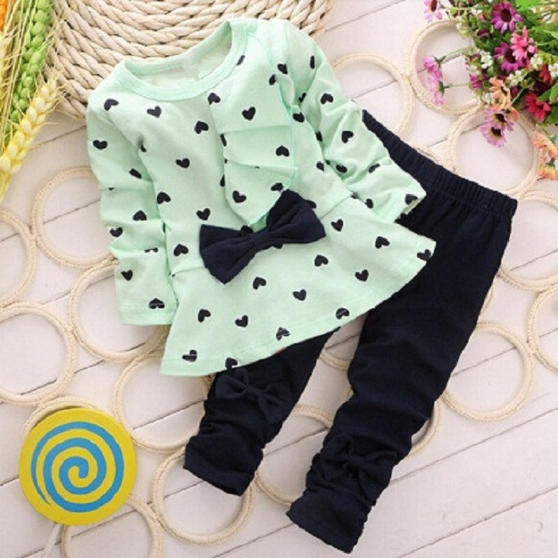Heart Print Girls Clothes Sets BowtieChildren Jumpers Leggings Suit Baby Girl Outfits Kid Clothing Fashion Cotton T-Shirt Pant