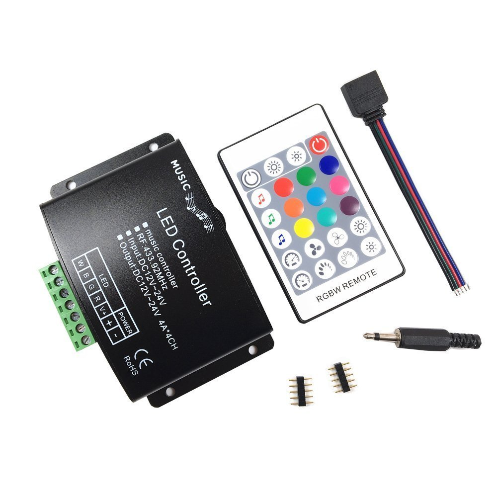 DC12V-24V 24 Keys RGBW Music LED Controller RF Remote Sound Sensor Voice Audio Control For 3528 5050 RGB LED Strip Light