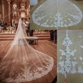 Real Photo Cathedral Wedding Veils White / Ivory Tulle Lace Appliques Long One Layer Bridal Veil Head Wedding Accessories Cheap
