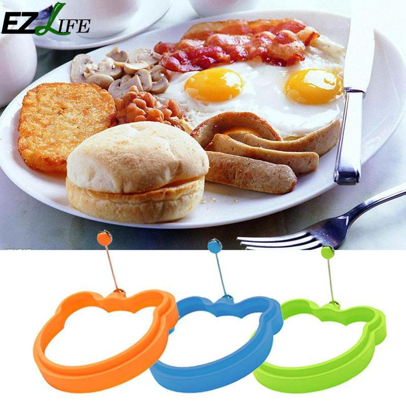 1pcs Silicone Molds For Fried Egg Cute Bear Head Shape Fried Egg Mold Pancake Bear Head Egg Mold LPT8608