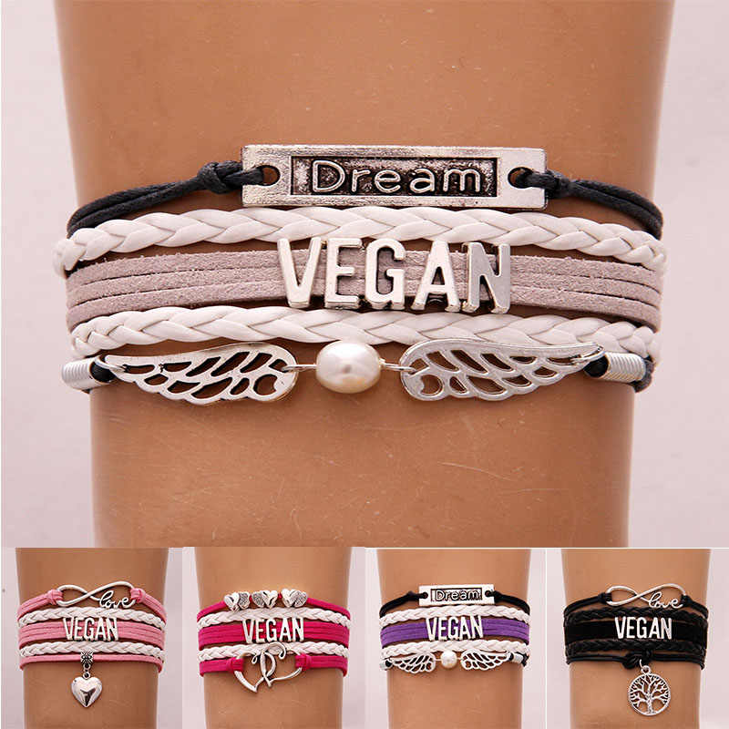 Drop Shipping Infinity Love Vegan Bracelet & Bangles Tree Of Life Charm Heart Wing Pearl Pendant Bracelet Jewelry Christmas Gift