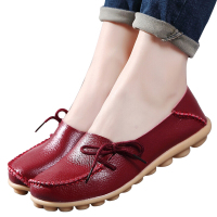 Large Size Genuine Leather Shoes Mother Shoes Women Girls Lace Up Fashion Casual Shoes Comfortable Breathable