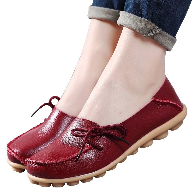 Gran tamaño de Las Mujeres zapatos de los planos de la madre de cuero zapatos de