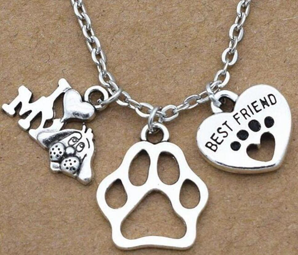 Fashion Jewelry Vintage Silver I Love My Dog Cute Best Friend Heart Dog's Paw Lover Gifts Pendants Necklace a1 image