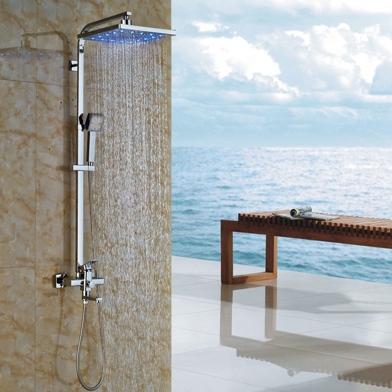 Wall Mounted Chrome LED Color Changing Shower Complete Set Mixer Taps Single Lever Bath Tub Shower