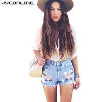 JYConline 2017 Fashion Embroidery Denim Shorts High Waist Stretch Short Jeans Femme Ripped Plus Size Women