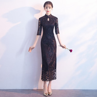 Black Womens Summer Long Dress Cheongsam Fashion Style Lady Elegant Slim Qipao Sexy Lace Party Dresses Vestido Clothing S of 3XL