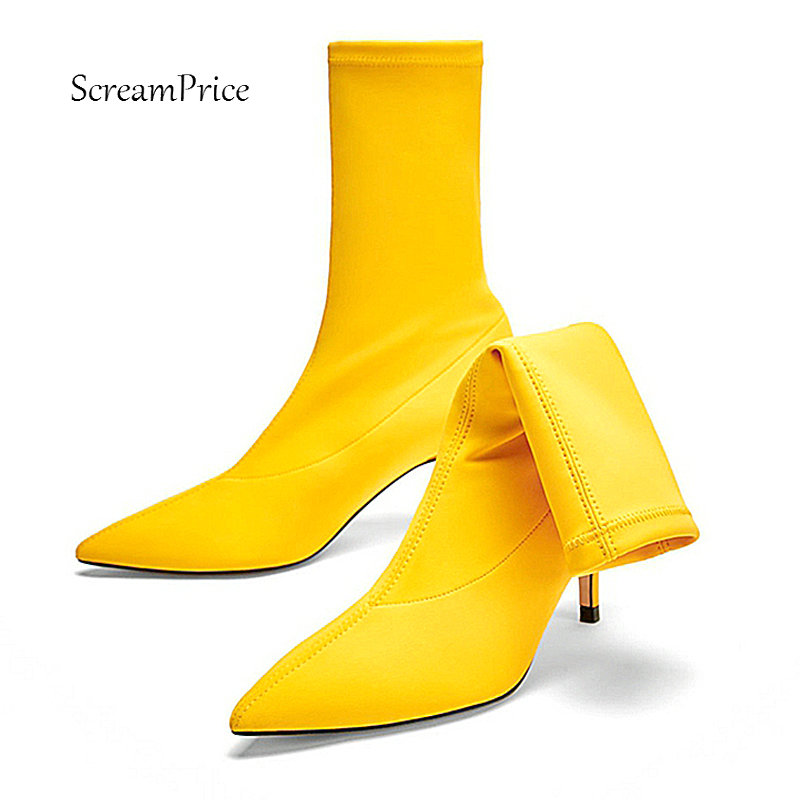 Sexy Socks Boots Thin High Heel Elastic Boots Pointed Toe Slip On Womens Ankle Booties 2018 New Plus Size 43 Red Black Yellow