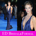 Celebrity Dress Mermaid Backless Low Cut Plunging V Neck Navy Blue Evening Gown London Transformers 3 Premier