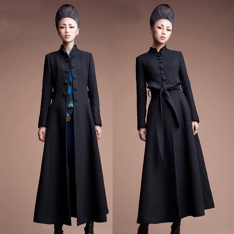About 128cm Long Thicker Warm Woolen Coat Female Winter Thickening Was Thin Floor Long Cashmere Woolen Coats With Belt Wq2298
