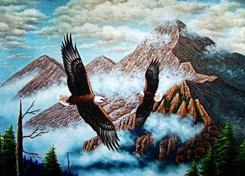 Free shipping Big size 60x120cm wall home decor picture,flying eagle on the sky,Gobelin tapestry